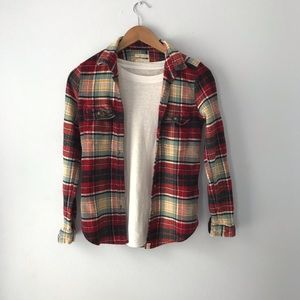 AEO Oversized Destroyed Flannel Shirt-small
